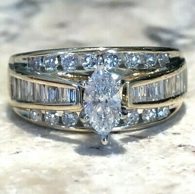 bfa5a56b6 $3000+ Kay Jewelers 14K Yellow Gold 1.5 CT Marquise Diamond Ring Baguette  Round