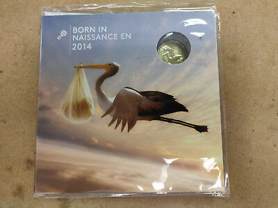Born in 2014 Baby 5 Coin Gift Set Canada mint dollar SEALED Stork Bird Loonie