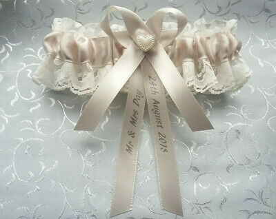 Personalised Ivory Lace & Satin Bridal Garter Wedding Pearl Heart Bow