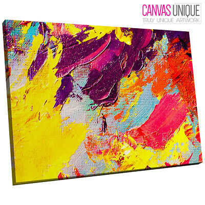 AB1631 yellow purple paint smears Abstract Wall Art Picture Large Canvas Print