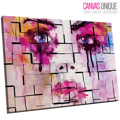 E167 pink abstract face minimalist collage  Canvas Wall Art Framed Picture Print