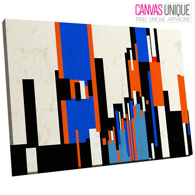 AB959 Modern Minimalist Blue End Abstract Canvas Wall Art Framed Picture Print