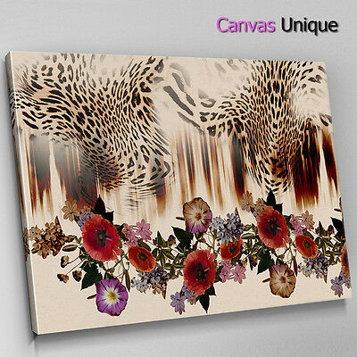 AB1385 red rose leopard print love Abstract Wall Art Picture Large Canvas Print