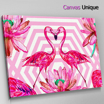 Retro Pink Flamingo Portrait Abstract Canvas Wall Art Large Picture Prints