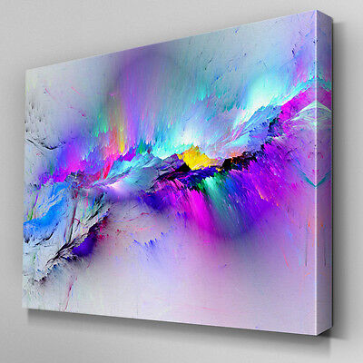 AB968 Modern multicoloured blue Canvas Wall Art Abstract Picture Large Print