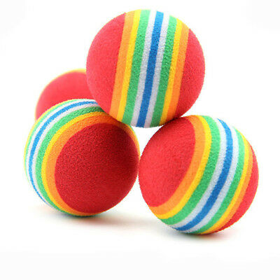 10X Puppy Cat Dog Rainbow Chew Ball Rubber Cleaning Teeth Ball Pet Toy Supplies