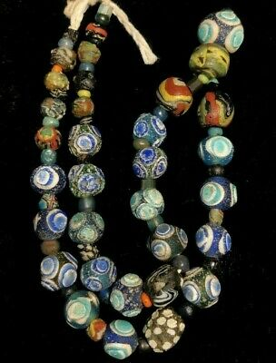 Authentic Ancient Roman Islamic Glass Bead 650AD Swirled Mosaic Glass Necklace