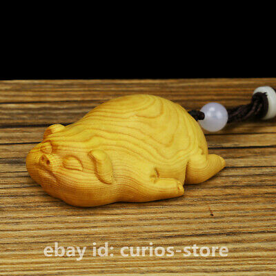 50MM Chinese Box-wood Hand Carved Zodiac Animal Pig Small Foo Pig Lucky Statue福猪