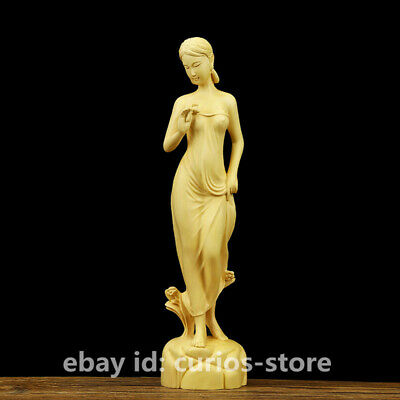 "7.9"" Fine Chinese Box-wood Hand Carved Young Beautiful Girl Goddess Stand Statue"