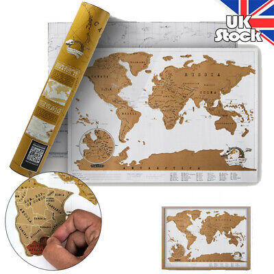 Luxury World Travel Scratch Off Map Holiday Poster Wall Paper Kid Gift 41 X 29cm