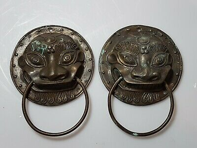 A Lovely Pair Of Chinese Bronze Foo Dog Guardian Door Knockers.