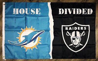 """Miami Dolphins vs Oakland Raiders """"House Divided"""" FLAG 3x5 ft Banner NFL ManCave"""
