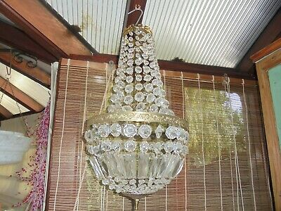 Antique/Vintage French? Cut Glass Bag And Tent Chandelier (Collection Only)