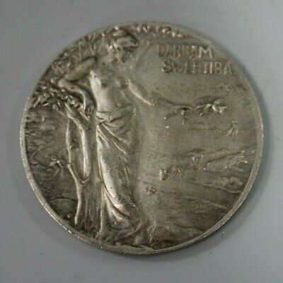 Latvian Baltic Agricultural Society white metal 1905 prize medal woman figure