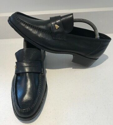 Alan Buckby Black Leather Vintage Slip On Loafers Shoes UK Size 9 made In Spain