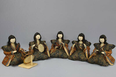 Japanese Antique Very Old Five Court Musician Dolls Edo Period 9""