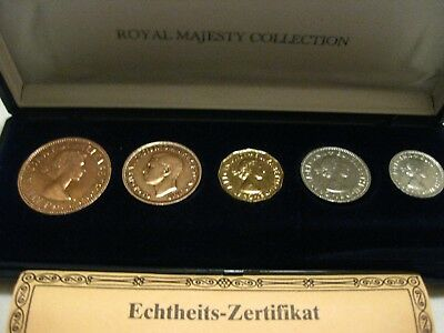 old British coins Set with 5 coins unc. with BOX