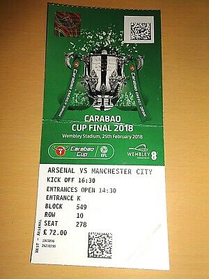 ARSENAL v MANCHESTER CITY - Carabao Cup (League Cup) Final - 2018 - Used Ticket