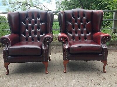 Chesterfield Queen Anne Wingback Armchairs In Red Oxblood Leather L🇬🇧👁K