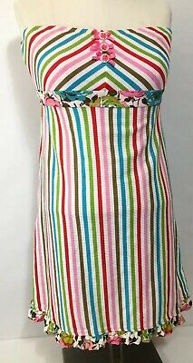 148c986eb79b8 Betsey Johnson Swim Cover Up Stripe Dress Blue Red Rose Floral Size S-m