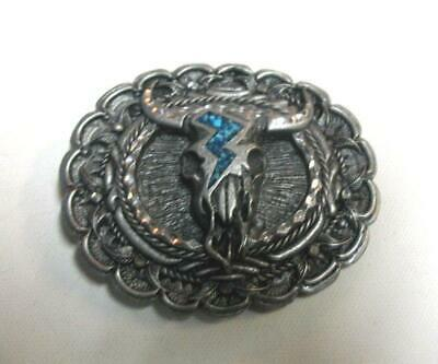 Vintage Long Horn Turquoise Belt Buckle Southwest Pewter Made in USA Oval Shape
