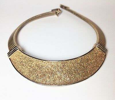 SIGNED Vintage CHOKER necklace MIMI DI N Gold Tone MODERNIST collar