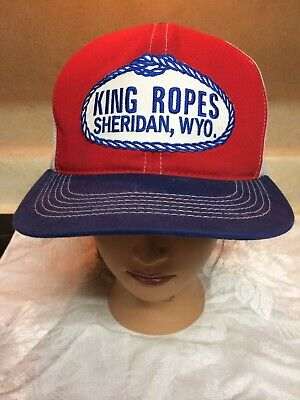 928f43a2 Vtg King Ropes Saddlery Snap Back Mesh Trucker Hat Red White Blue  K-Products USA