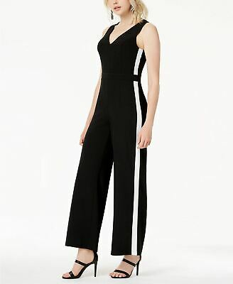 BAR III Bow Vneck Stripe Jumpsuit Black 8
