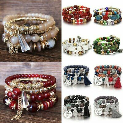 Multilayer Boho Bohemia Natural Stone Beads Tassel Pendant Bracelet Charm Set