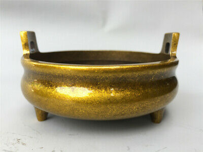 """4"""" Chinese antique bronze brass mark double ear Three footed Incense Burner"""