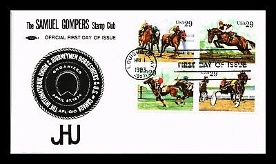 Dr Jim Stamps Us Samuel Gompers Stamp Club Sports Horses Fdc Cover Block Of 4
