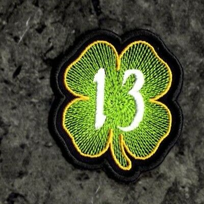 Number 13 Patch 4 Leaf Clover Patch Irish Clover Lucky Iron On To Sew On