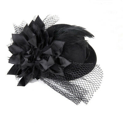 Women Adorned with Flowers Barrette Spring Burlesque Punk Mini Top Hat blac F4O5