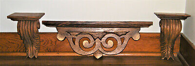 Very Nice Vtg/Atq Solid Hand Carved ~WOOD SHELF & (2) CORBELS SET~ Acanthus Leaf
