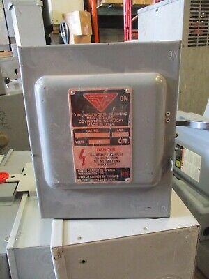 wadsworth 9033a, 30 amp 240 volt 3 phase vintage double throw switch- ats334