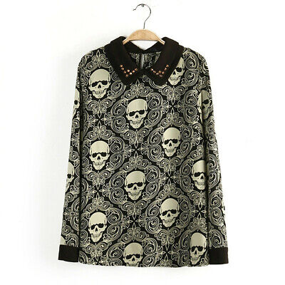 0e5d098f8dc25 New Womens Plus Size Top Ladies Skull & Rose Pirate Halloween Swing Tunic  Gothic.