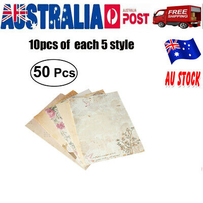 50x Vintage Retro Design Writing Stationery Paper Pad Note Letter Paper Set