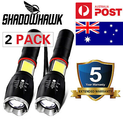 2Pack 20000LM Super Bright LED Flashlight Tactical Military Torch COB Work Light