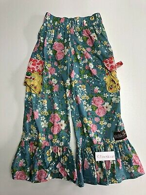 Matilda Jane Stone Cliff Good Hart Floral Ruffle Pants Youth Girl's Size 8 EUC