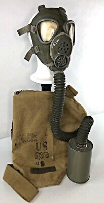 American M3A1 Diaphragm Gas Mask Respirator + Canvas Carrier Bag VTG WW2 US WWII