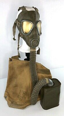 US WWII Rubber M2A2 Service Gas Mask + Canvas Carrier Bag- 1942 American WW2 VTG