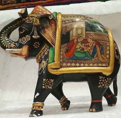 Indian Wooden ,Camel Bone Elephant  with hand painted GH 263