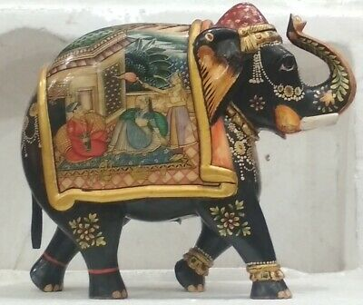 Indian Wooden ,Camel Bone Elephant  with hand painted GH 264