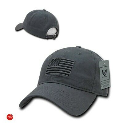 Ball Cap For Men Usa Dark Grey Washed Cotton Baseball American Flag Embroidered