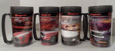 Lot of 4 Thermo-Serv Snap-On Tools Car & Calendar Girl Cups Mugs (May-Aug 2006)