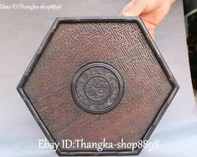 """13""""Chinese Huanghuali Wood Dragon Dragons Loong Beast Pallet Tray Shallow Waiter"""