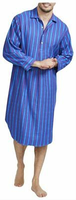 British Boxers Mens Jester Stripe Two Fold Flannel Nightshirt - Blue/Red