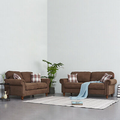 2/3 Seater Fabric Sofa Settee Couch with Armrest Armchair & 2 Pillows Furniture