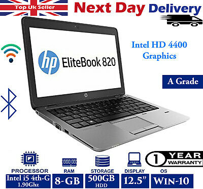 "HP EliteBook 820 G1 12.5"" Laptop Intel i5 4th-Gen 1.90Ghz 8GB 500GB HDD Win 10"