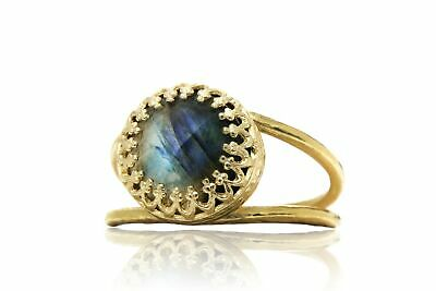 Stunning 14k Gold-Over-Silver Ring Jewelry with Labradorite Gem Prong Setting